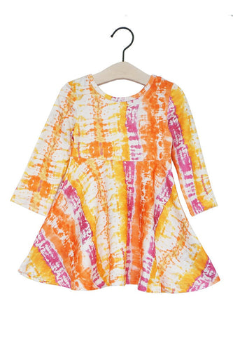 Coral tie dye twirl dress sale