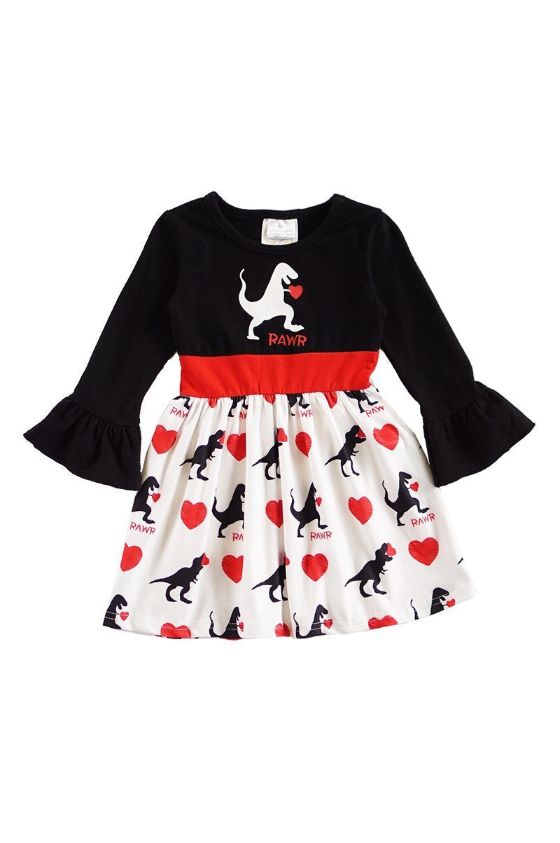 Love Bites Black and Red Dinosaur Bell Sleeved Dress - ARIA KIDS