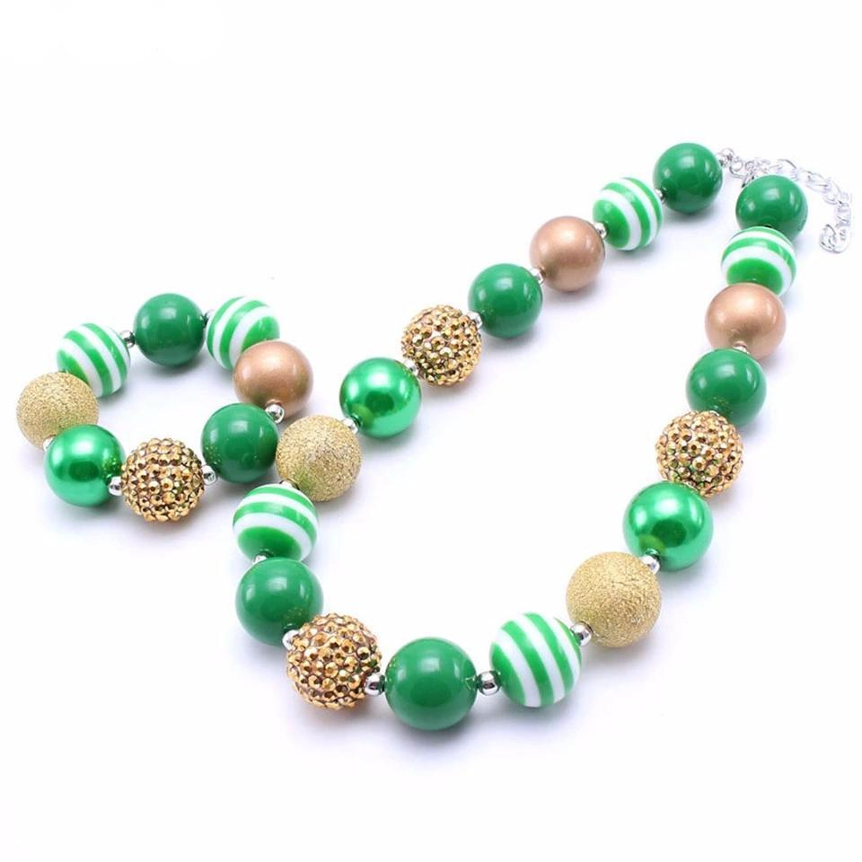 St. Patrick's Day Green/Gold Chunky Necklace - 2 Piece Set - ARIA KIDS