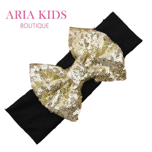 Black/Gold Baby Sequin Bow Headband - ARIA KIDS