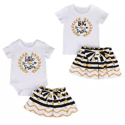 Off White/Gold Big Sister Little Sister 2-piece Sibling sets - ARIA KIDS