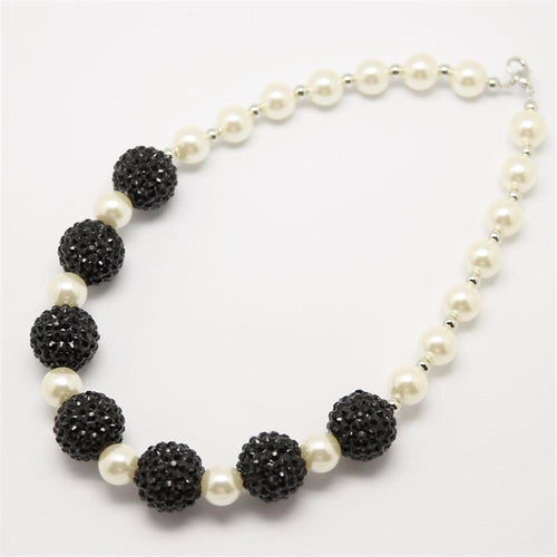 Black White Pearl Rhinestone Necklace - ARIA KIDS