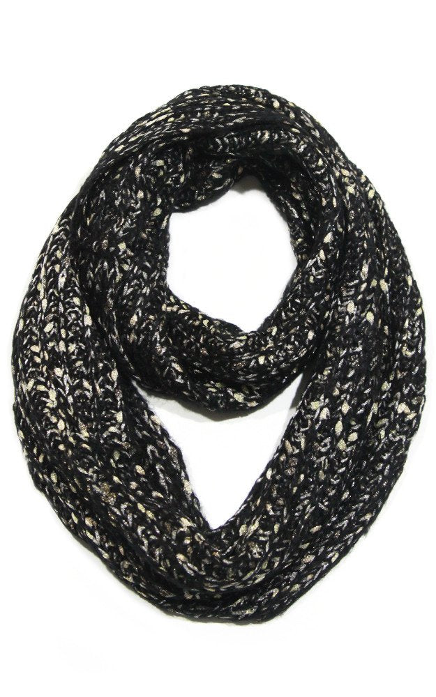 Metallic Black Knitted Infinity Scarf - Gift for Her - ARIA KIDS