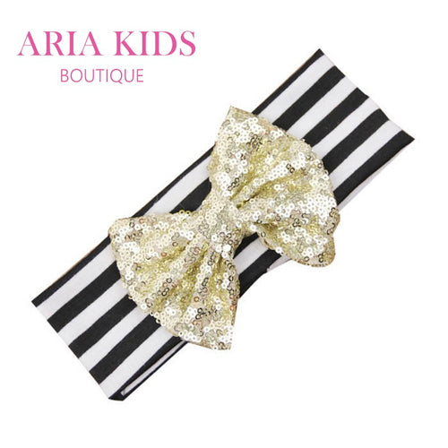 Black Stripes/Gold Sequin Baby Bow Headband - ARIA KIDS