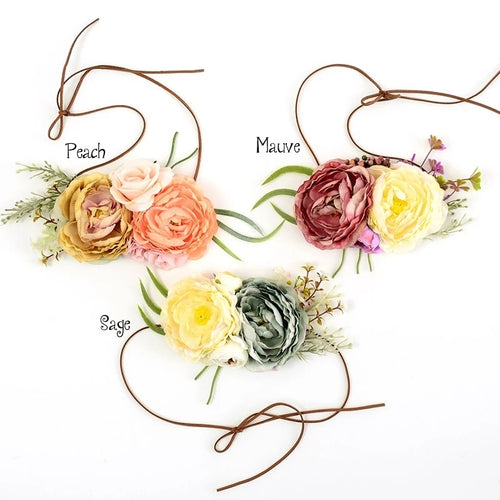 Flower Girl Head Tie - Floral Crown (RTS) - ARIA KIDS