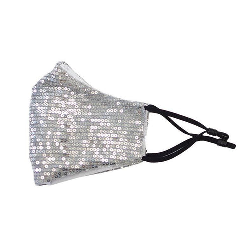 Adult Sequin Mask - Sparkly Silver - ARIA KIDS