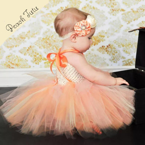Peach Baby Photo Shoot Prop 2-Piece SET with Satin Hairband - ARIA KIDS