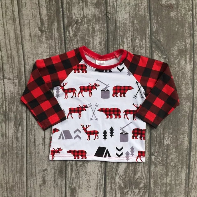 Buffalo Plaid Boys Raglan Christmas Shirt - ARIA KIDS