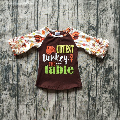 Cutest Turkey at the Table Thanksgiving Raglan Shirt - ARIA KIDS