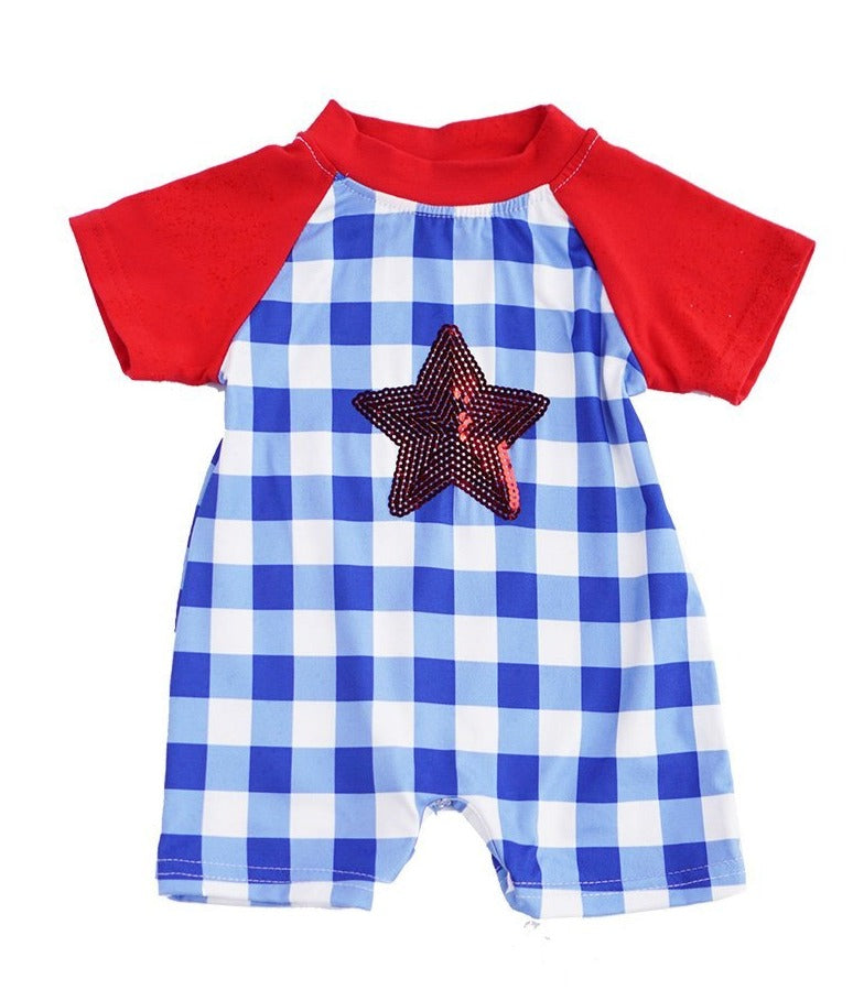 Boys Blue and White Red Star Sequins Baby Romper - ARIA KIDS