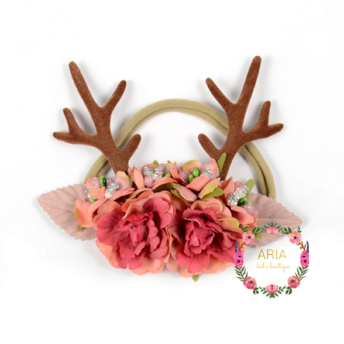 Rust Orange & Pink - Floral Deer Antler Headband - ARIA KIDS