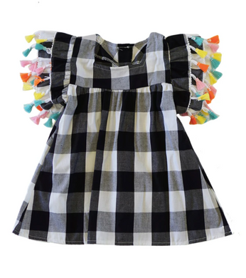 Giselle Gingham Plaid Tassels Tunic - Black White - ARIA KIDS