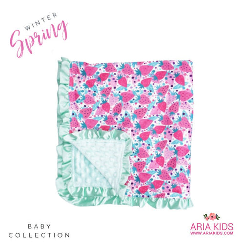 Strawberry Ruffle Minky Baby Blanket - ARIA KIDS