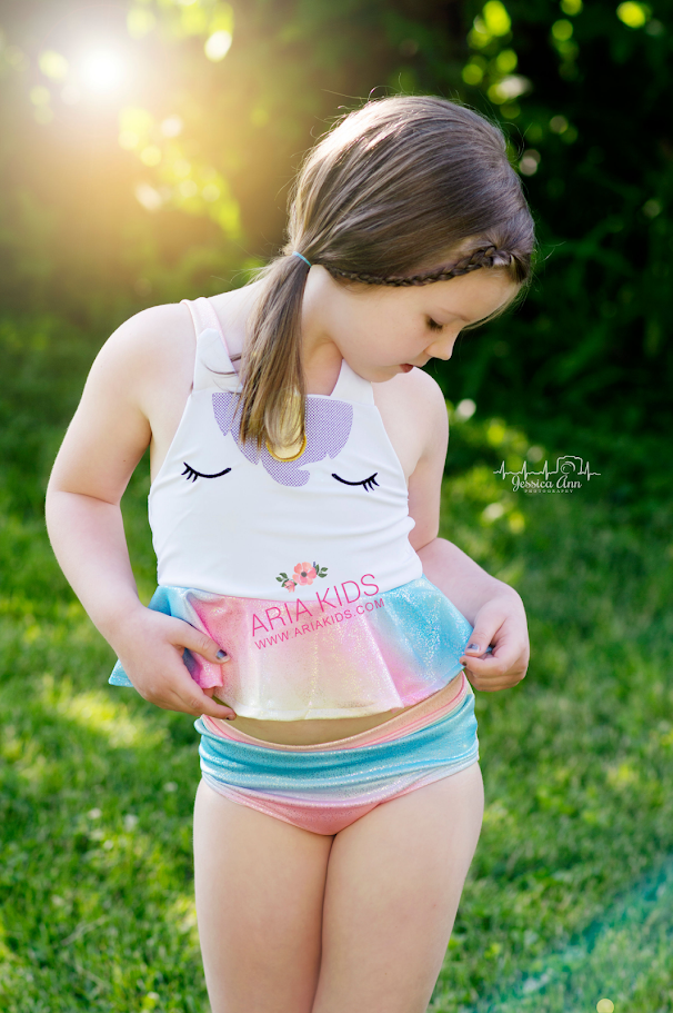 Unicorn Metallic Rainbow 2-Piece Swimsuit Set - RESTOCKED - ARIA KIDS