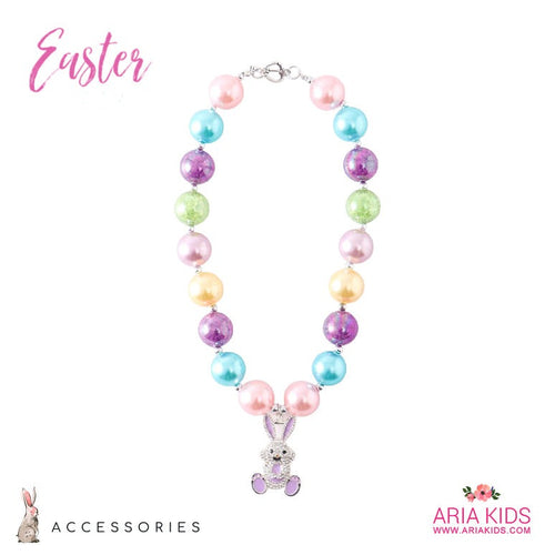 Rainbow Bunny Chunky Necklace - Clear Rhinestone - ARIA KIDS