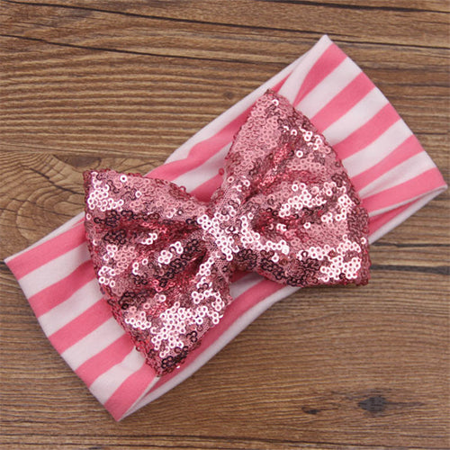 Baby Pink Stripes/Pink  Sequin Baby Bow Headband - ARIA KIDS