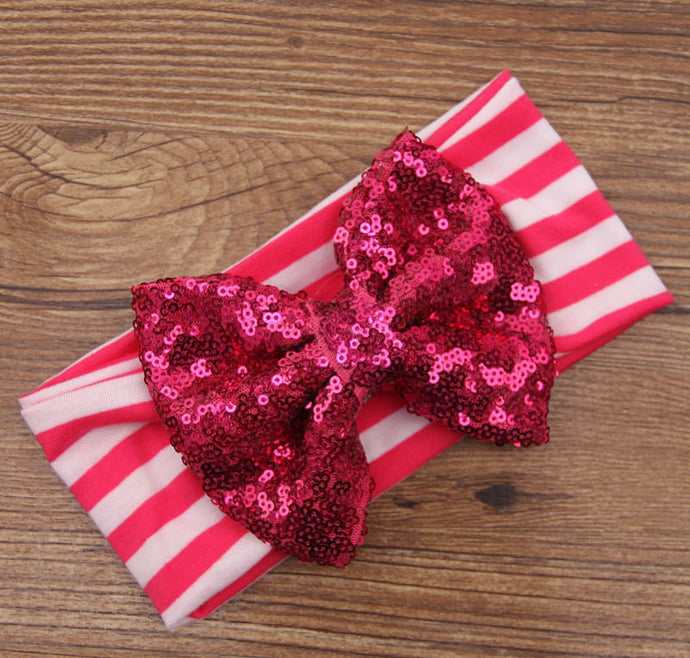 Rose Stripes/Rose Sequin Baby Bow Headband - ARIA KIDS