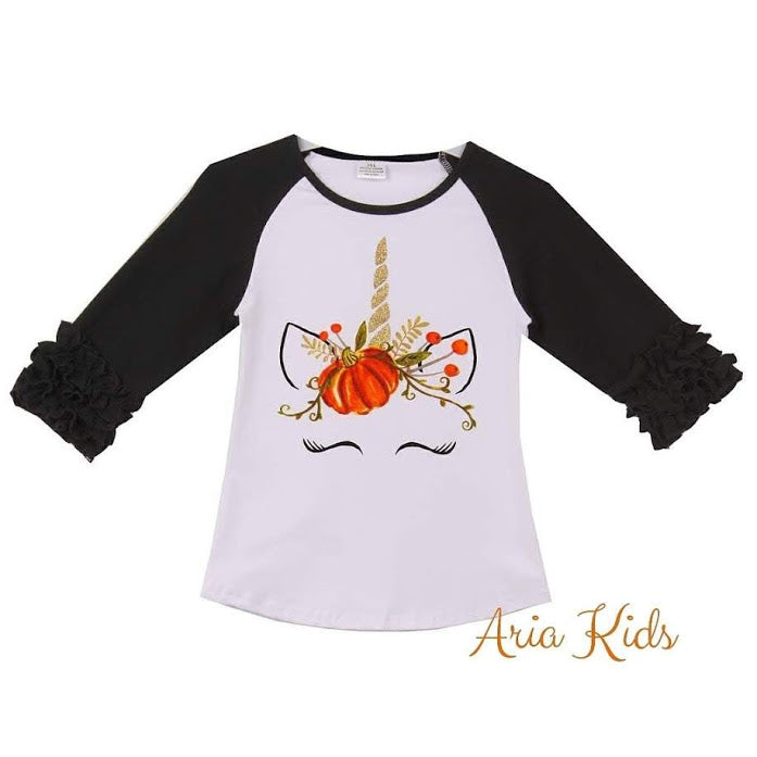 Unicorn Pumpkin Harvest Ruffled Fall T-shirt - Black - ARIA KIDS