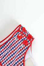 Blue Red Gingham Patriotic Flag Smocked Boys JonJon - ARIA KIDS