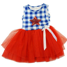 Blue White Gingham Red Sequins Star Tutu Dress - ARIA KIDS