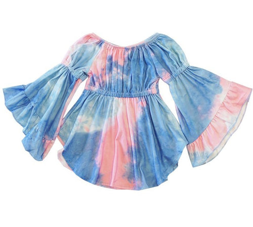 Juliet Bell Sleeve Tie Dye Tunic - Blue - ARIA KIDS