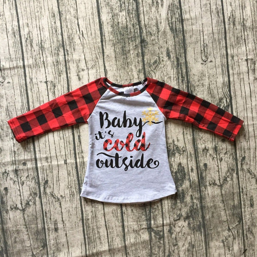 Buffalo Plaid Baby It's Cold Outside Christmas Gray Raglan Shirt - ARIA KIDS
