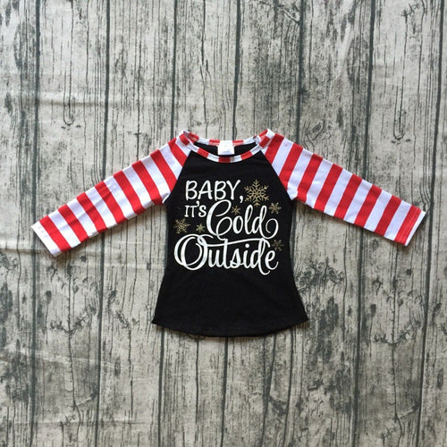 Striped Christmas Girl's Raglan -