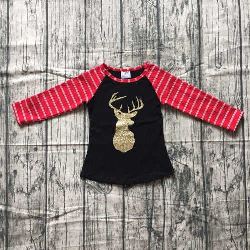 Gold Deer Christmas Black Raglan for Girls - ARIA KIDS
