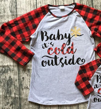 "Buffalo Plaid Mommy & Me Matching Christmas Raglan - ""Baby It's Cold Outside"" - ARIA KIDS"