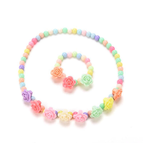 Pastel Rainbow Floral Necklace Bracelet 2-Piece SET (RTS) - ARIA KIDS