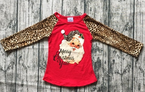 Merry Christmas Y'all Santa Raglan Shirt - ARIA KIDS