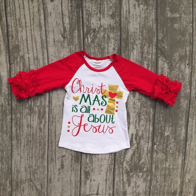 Christmas Is All About Jesus Raglan Icing Shirt - ARIA KIDS