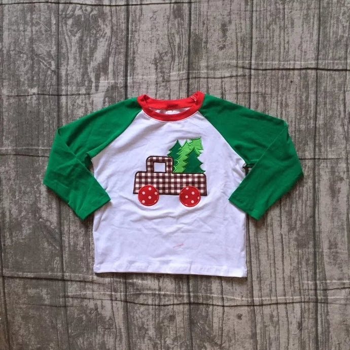 Christmas Tree Truck Boys Raglan Shirt - Green/Red/White - ARIA KIDS