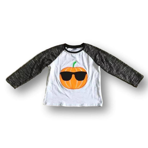 Cool Pumpkin Sunglasses Applique Shirt for Boys - ARIA KIDS