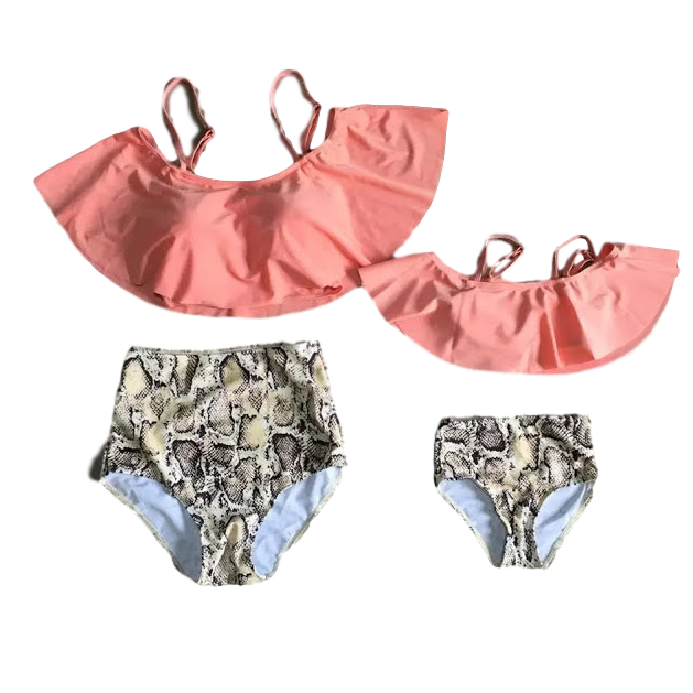 Mommy & Me Coral & Snakeskin 2-Piece Swimsuit - ARIA KIDS