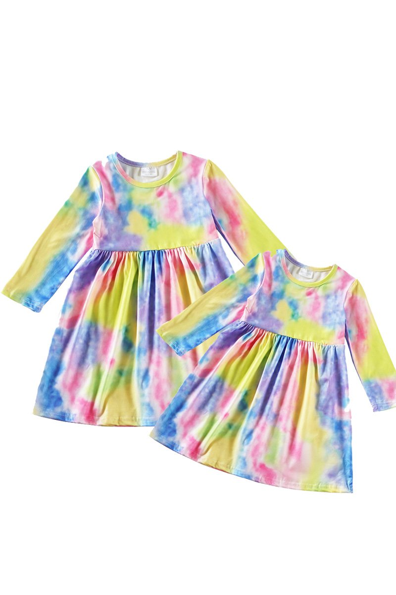 Mom & me pink green blue tie dye maxi dress
