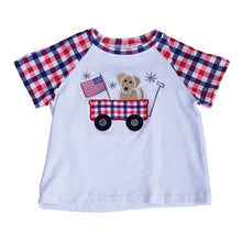 Dog in Wagon Applique Plaid Boys Shirt - ARIA KIDS