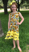"Little Miss Sunshine Sunflower Dress (with 5"" Hair Bow Clip) - ARIA KIDS"