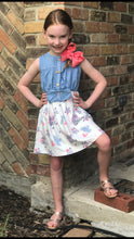 "Unicorn Denim Ruffle Dress with 5"" Pink Hair Bow Clip - ARIA KIDS"