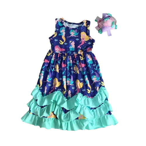 Mermaid Ruffle Dress in Blue/Mint - Design 1 - ARIA KIDS
