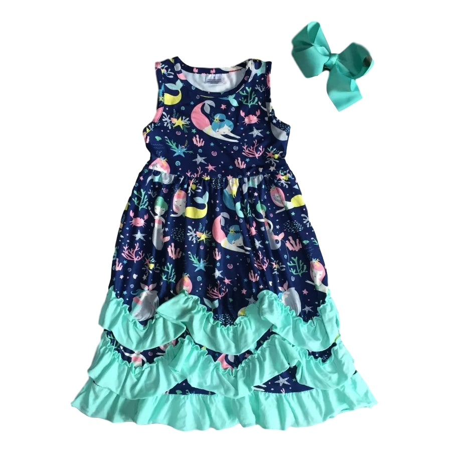 Mermaid Ruffle Dress in Navy/Mint - Design 2 - ARIA KIDS