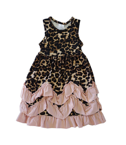 Pink Blush Leopard Ruffle Dress - ARIA KIDS