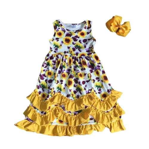 Purple Yellow Floral Ruffle Dress - ARIA KIDS