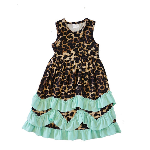 Mint Leopard Ruffle Dress - ARIA KIDS