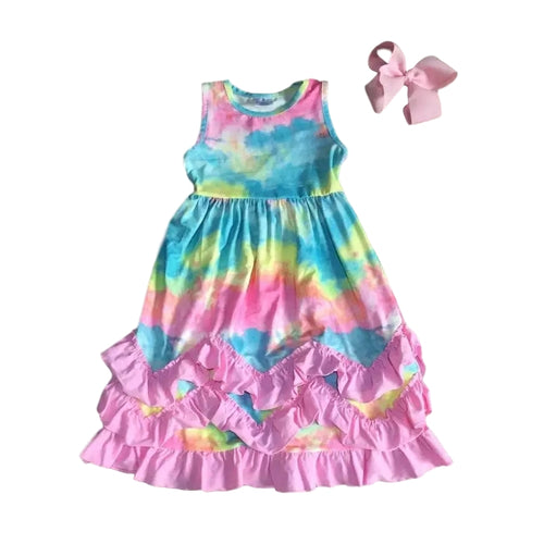 Pastel Tie Dye Ruffle Dress - ARIA KIDS