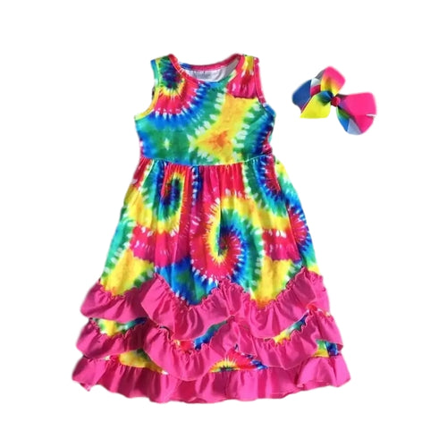 Bright Tie Dye Twirl Ruffle Dress - ARIA KIDS