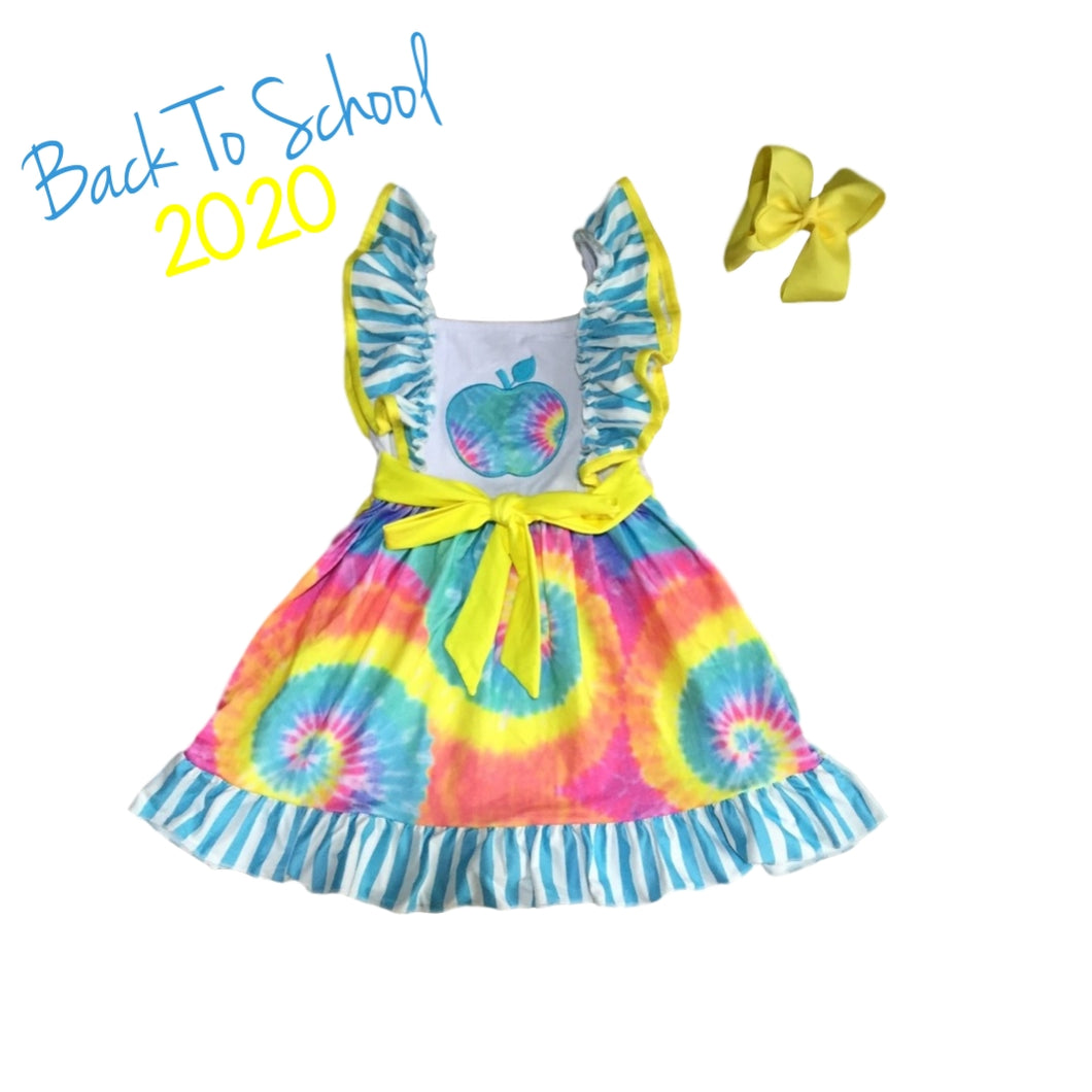 Tie Dye Apple Back to School Ruffle Dress - ARIA KIDS