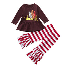 Thankful Feather Long Sleeve Stripe Ruffle Pant 2-Piece Set - ARIA KIDS