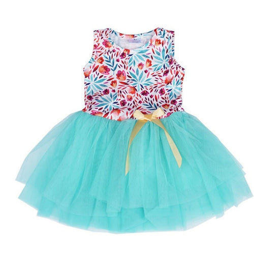Mint Floral Tutu Dress - ARIA KIDS