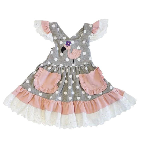 Dusty Pink Flamingo Applique Ruffle Lace Dress - ARIA KIDS